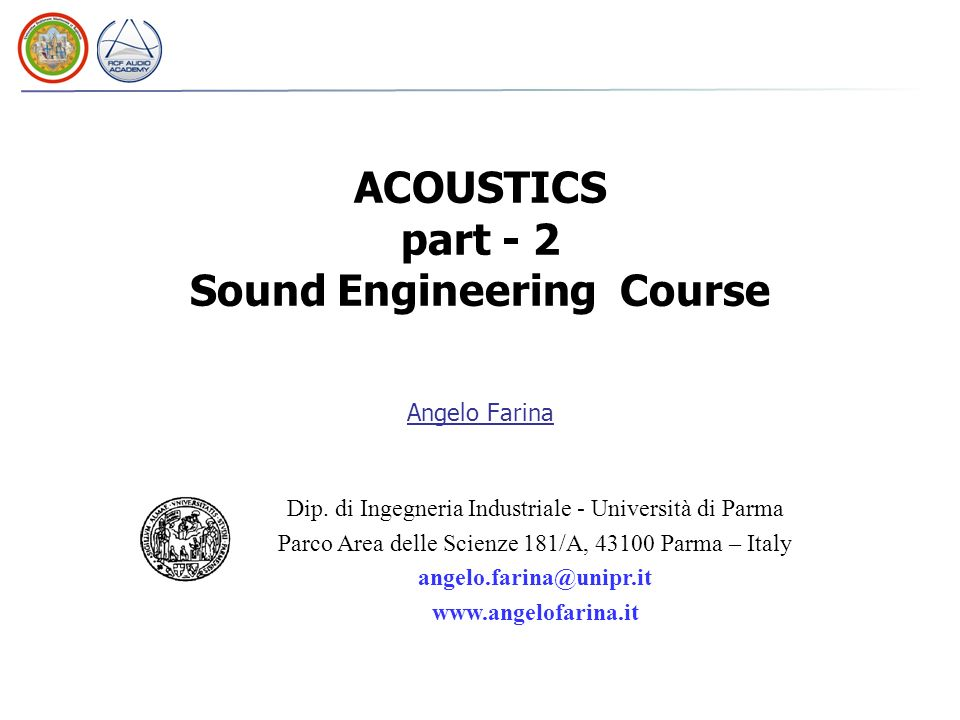 ACOUSTICS part - 2 Sound Engineering Course