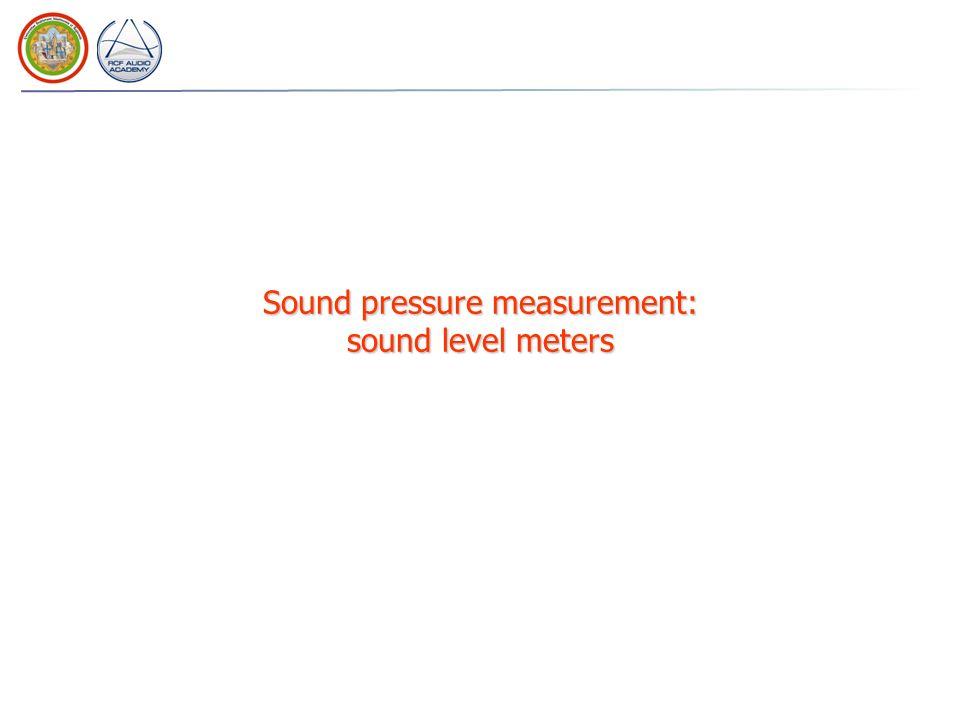 Sound pressure measurement: sound level meters