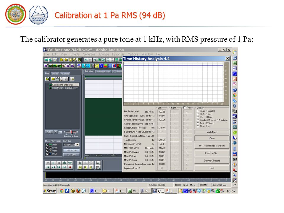 Calibration at 1 Pa RMS (94 dB)