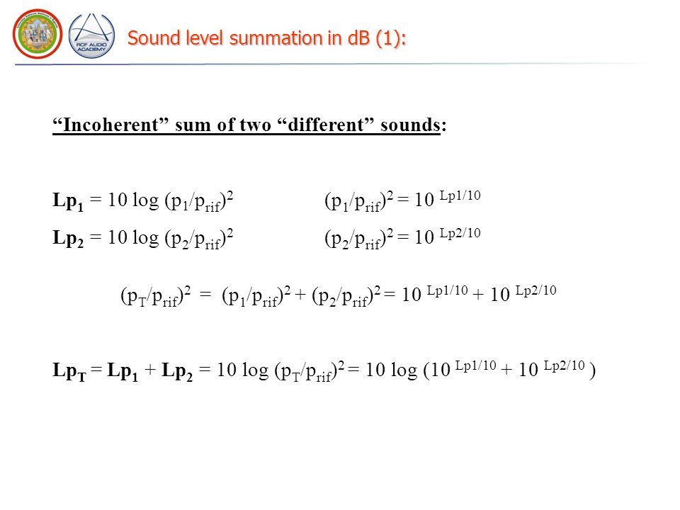 Sound level summation in dB (1):