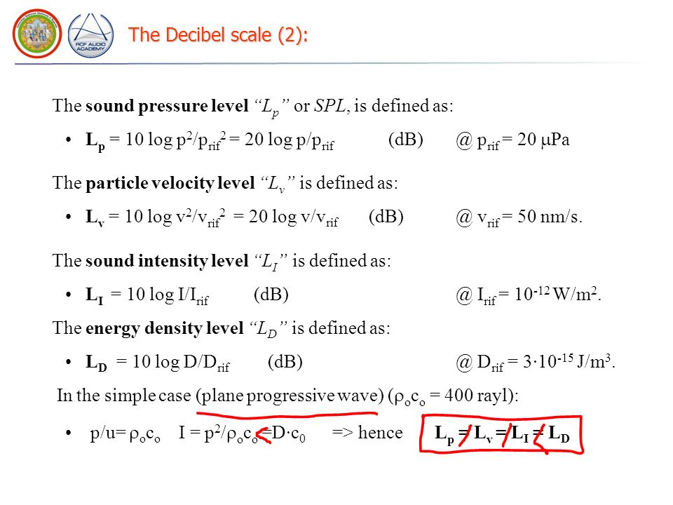 The Decibel scale (2): The sound pressure level Lp or SPL, is defined as: Lp = 10 log p2/prif2 = 20 log p/prif (dB) @ prif = 20 Pa.