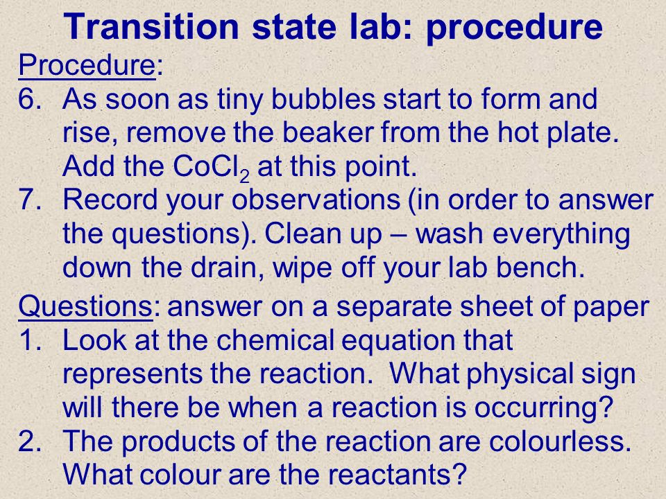 Transition state lab: procedure