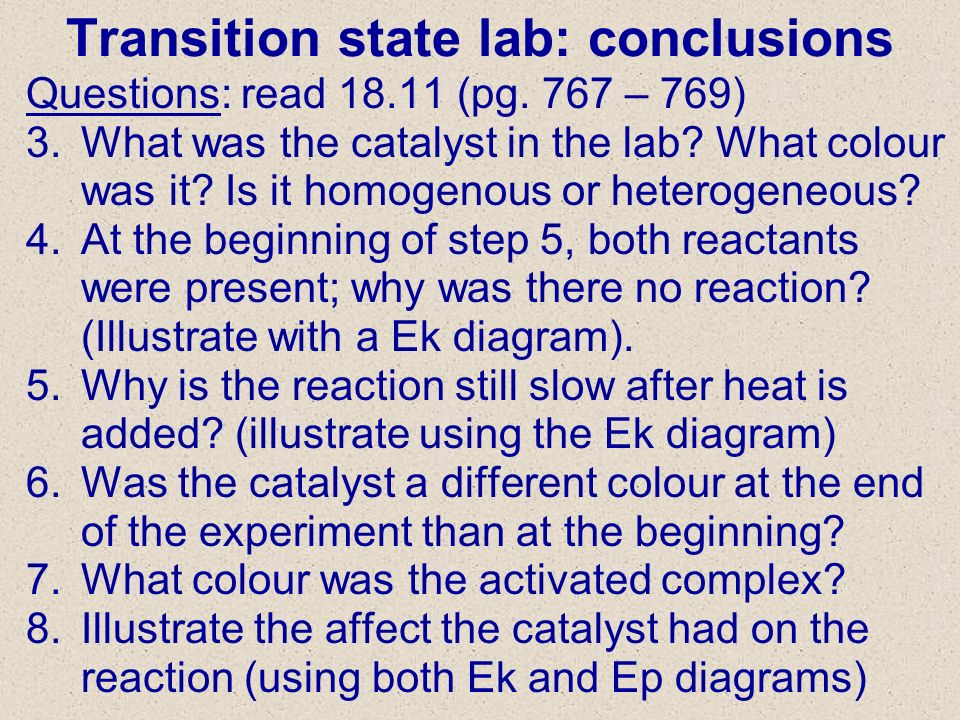 Transition state lab: conclusions