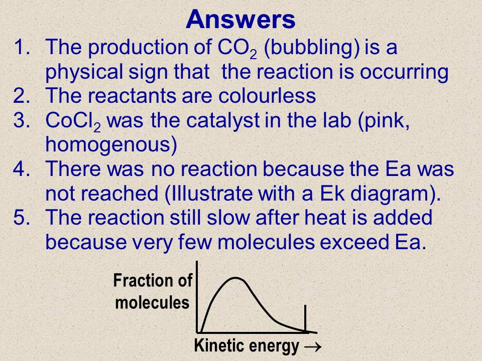 Answers 3/27/2017. The production of CO2 (bubbling) is a physical sign that the reaction is occurring.