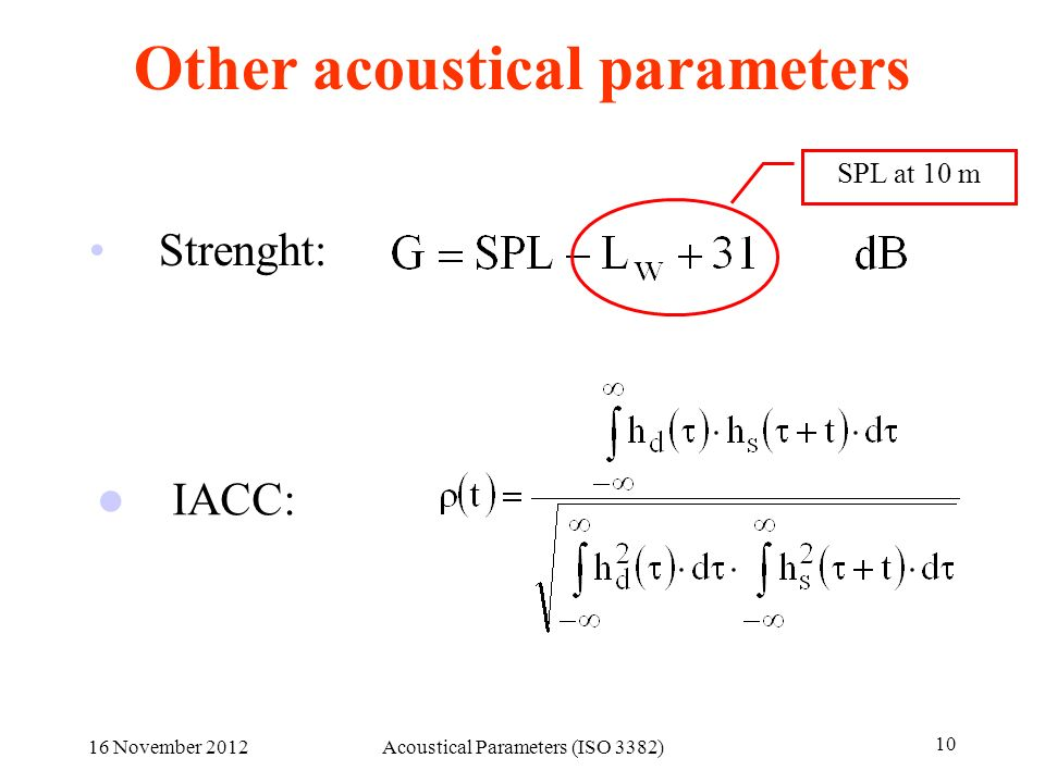 Other acoustical parameters