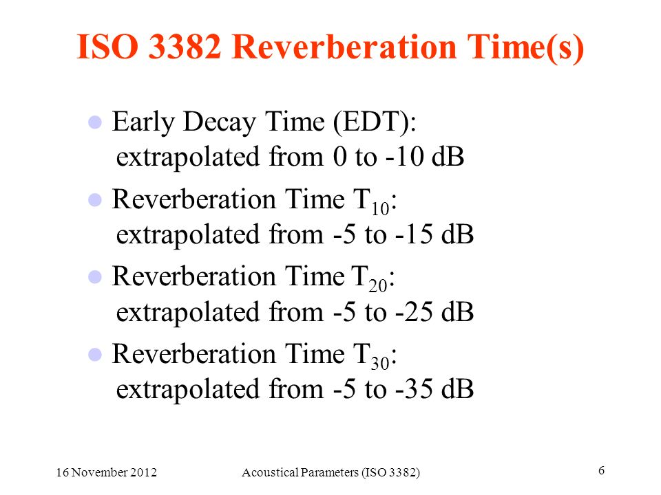 ISO 3382 Reverberation Time(s)