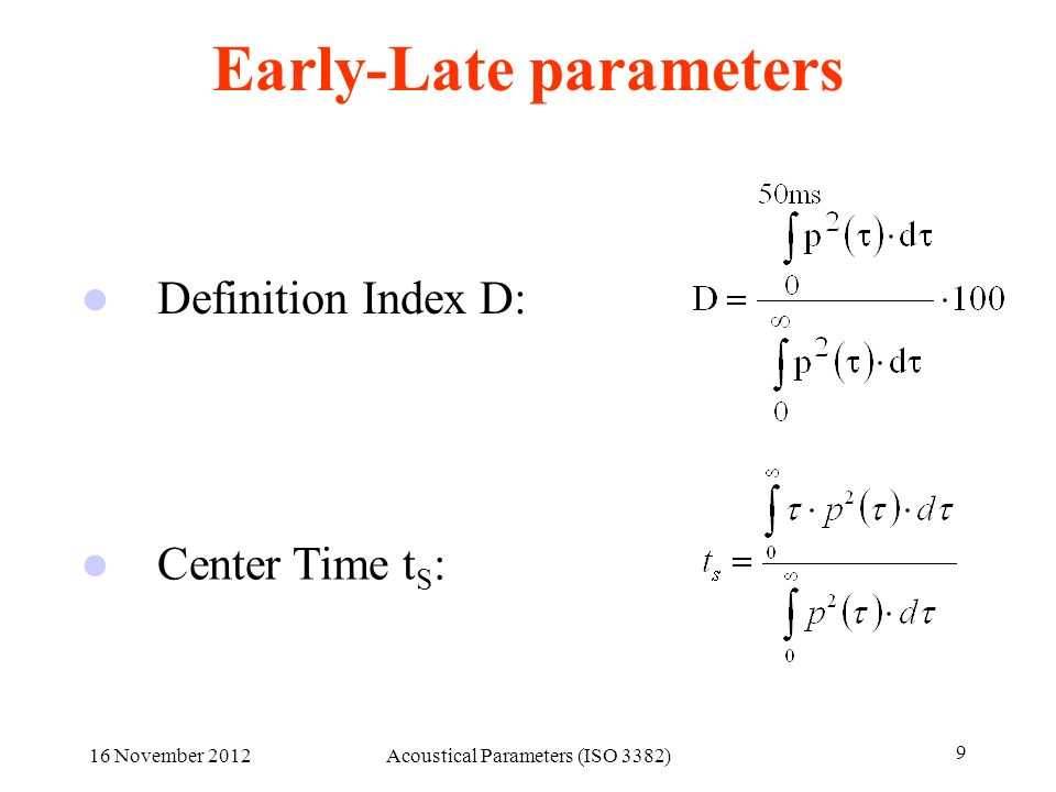 Early-Late parameters