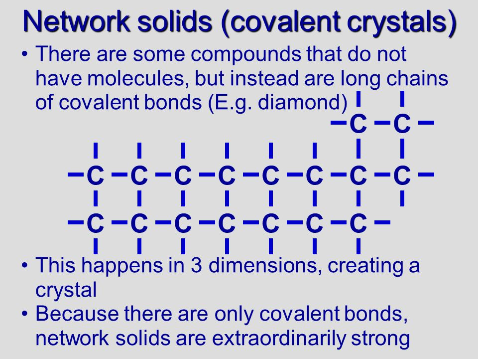 Network solids (covalent crystals)