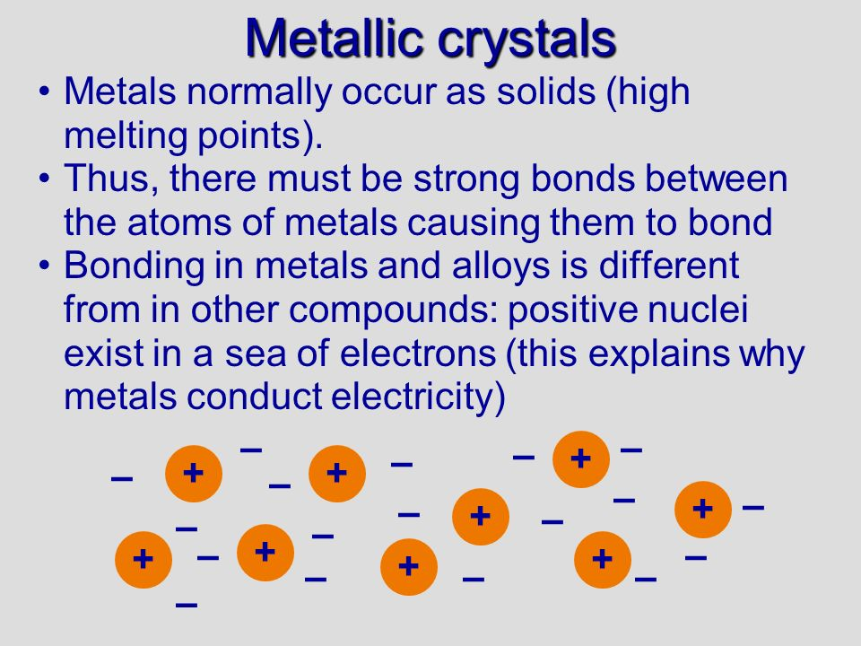 Metallic crystals 12/10/99. Metals normally occur as solids (high melting points).
