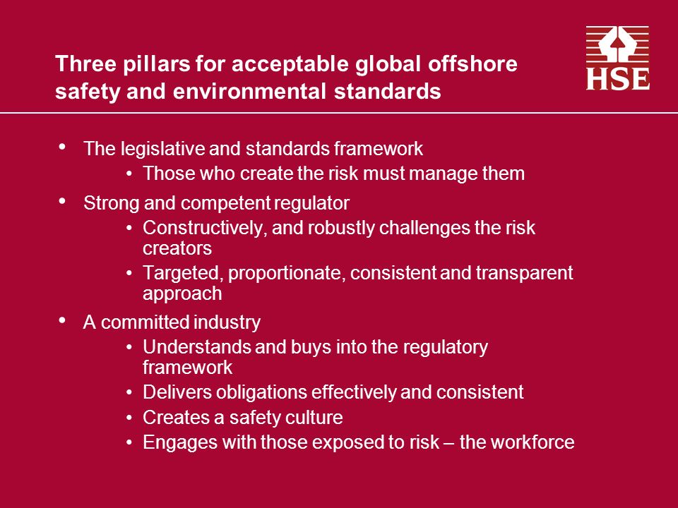 Three pillars for acceptable global offshore safety and environmental standards