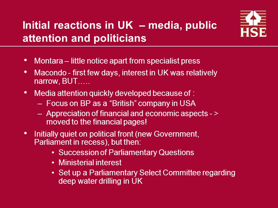 Initial reactions in UK – media, public attention and politicians