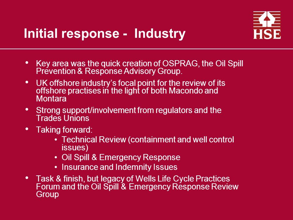 Initial response - Industry