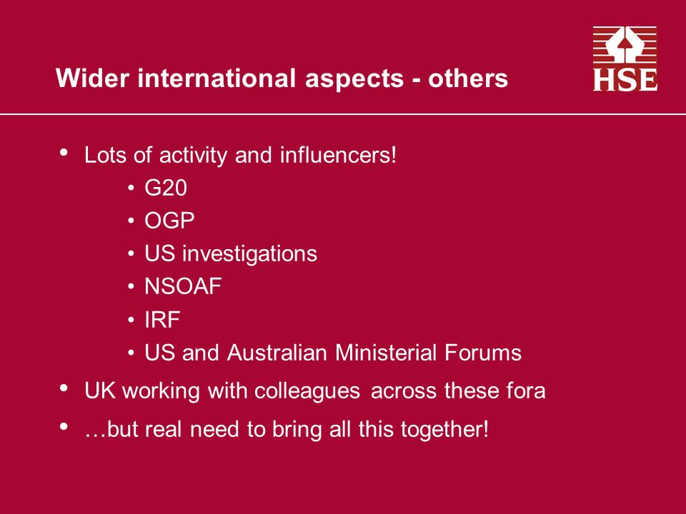 Wider international aspects - others