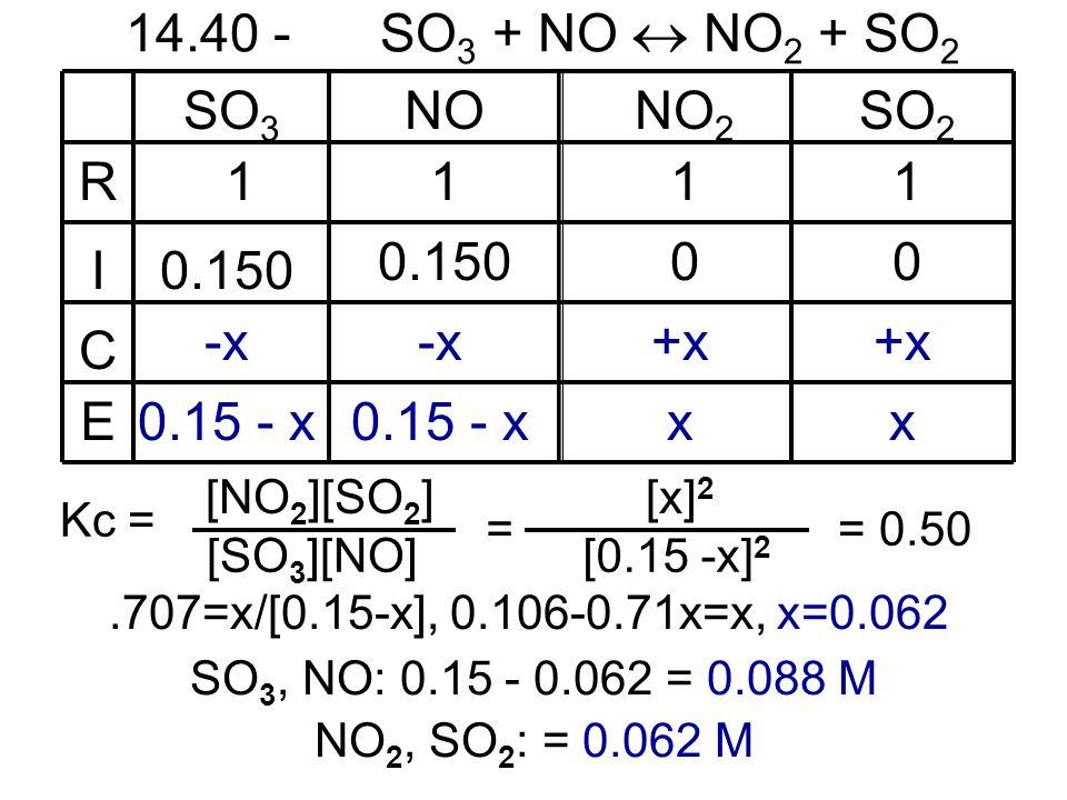 14.40 - SO3 + NO  NO2 + SO2 R I C E SO3 NO NO2 SO2 1 1 1 1 0.150