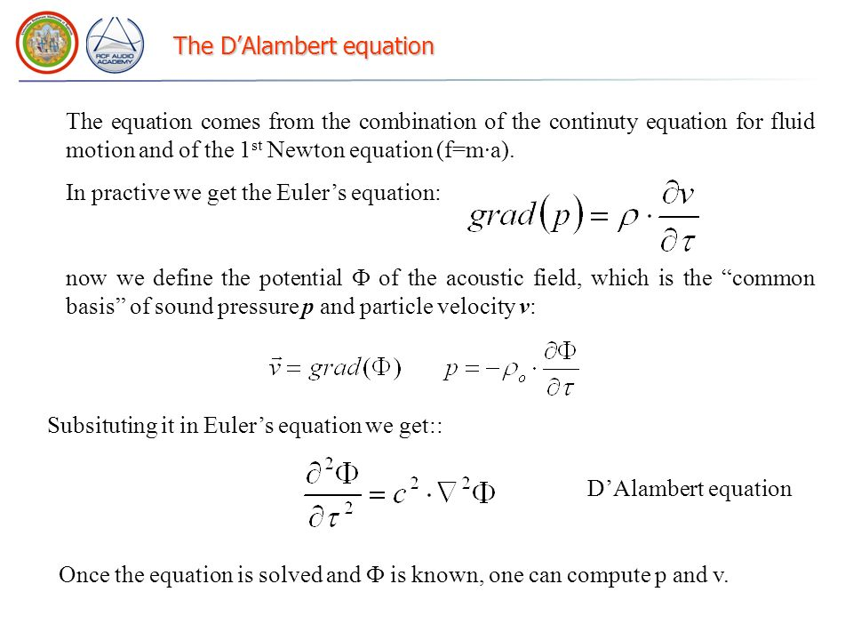 The D'Alambert equation
