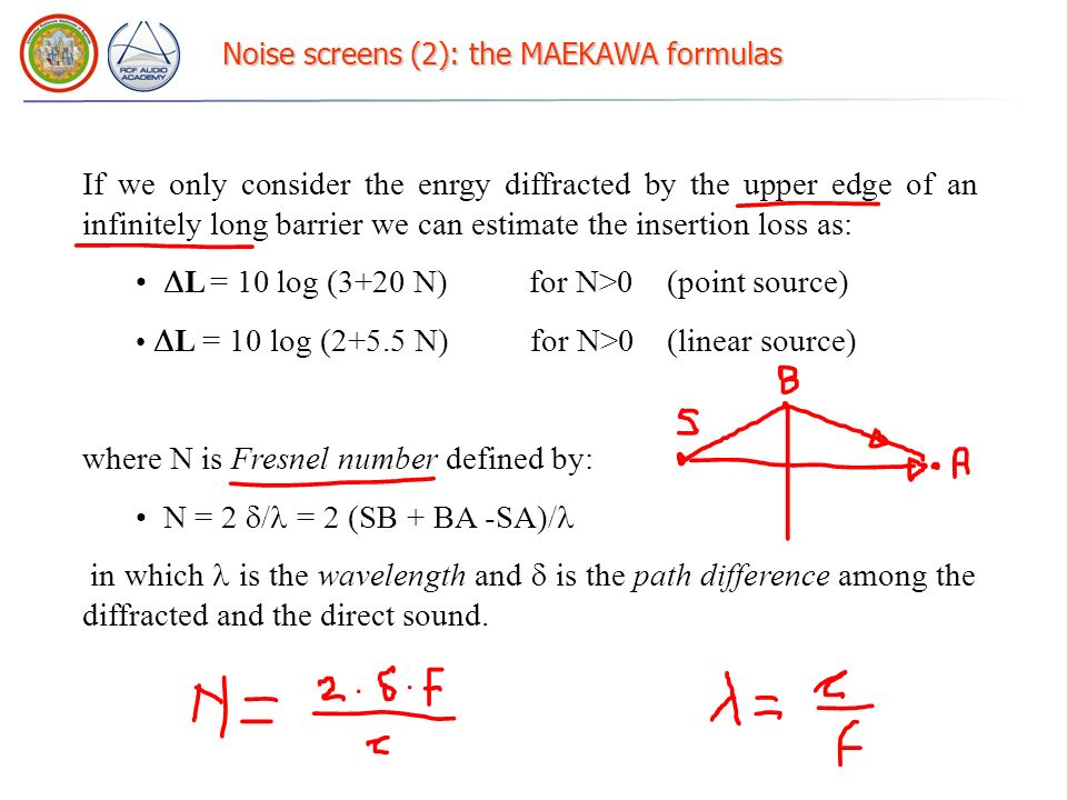Noise screens (2): the MAEKAWA formulas