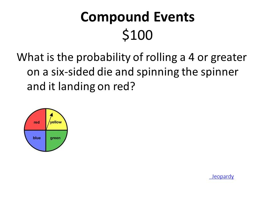 Compound Events $100 What is the probability of rolling a 4 or greater on a six-sided die and spinning the spinner and it landing on red.