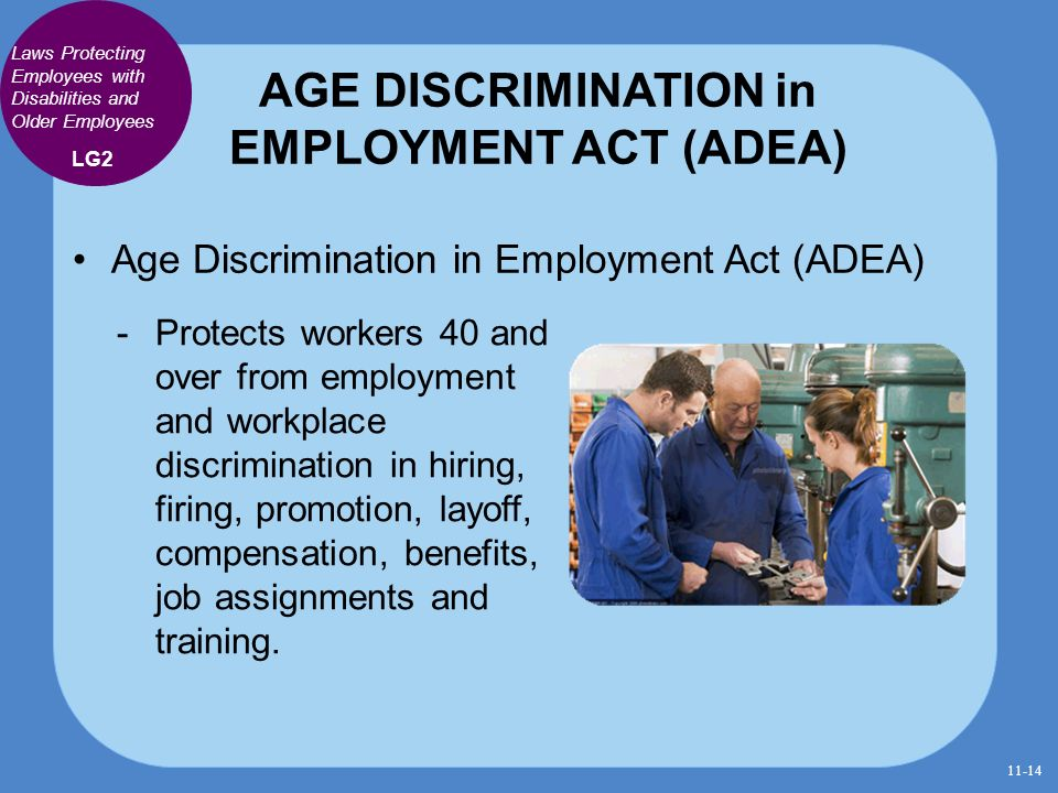 the age discrimination in employment act Cato institute policy analysis no 82: the age discrimination in employment act: equal opportunity or reverse discrimination february 10, 1987 clint bolick.
