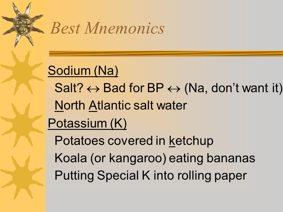 Best Mnemonics Sodium (Na) Salt  Bad for BP  (Na, don't want it)