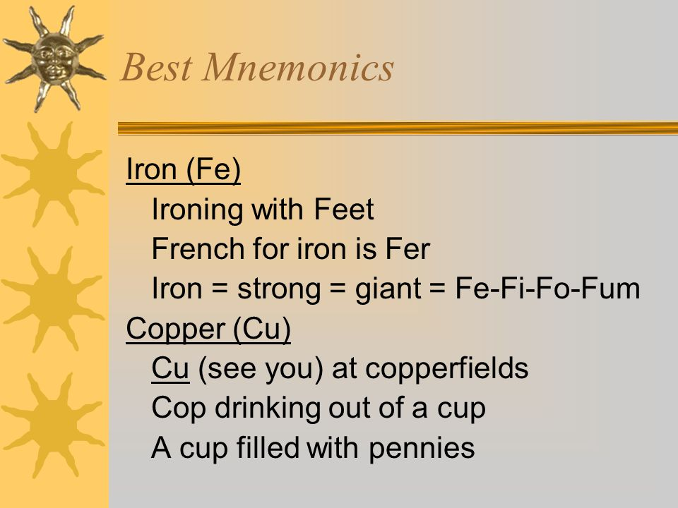 Best Mnemonics Iron (Fe) Ironing with Feet French for iron is Fer