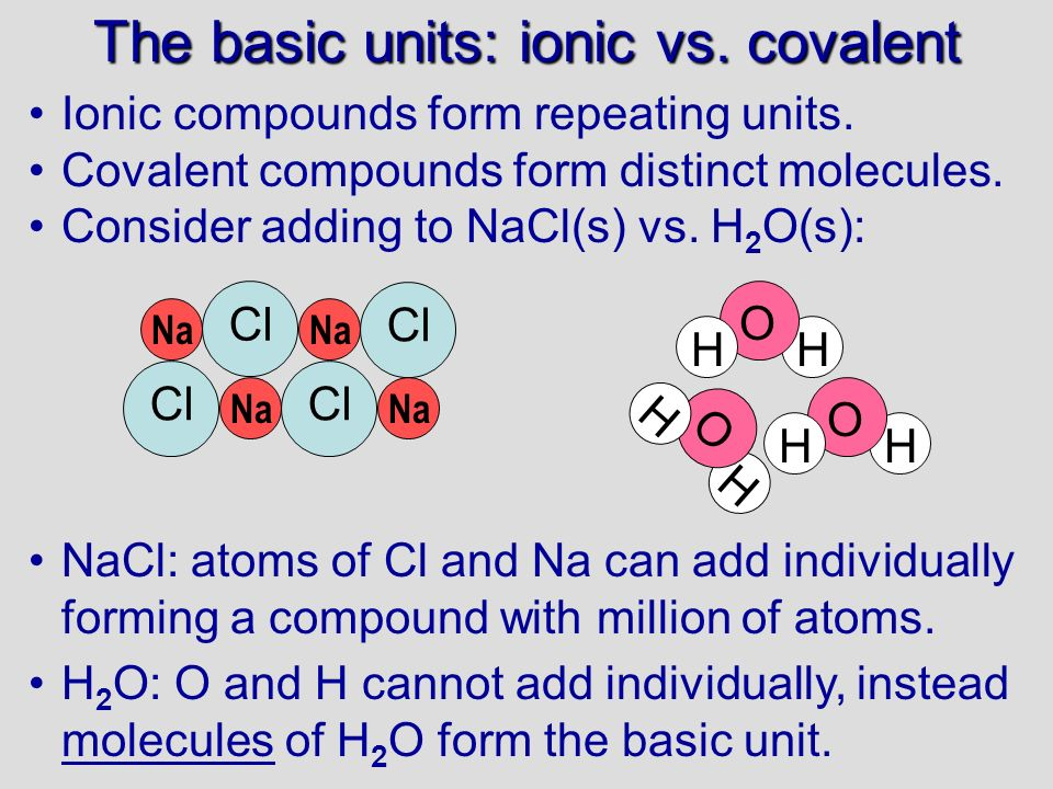 The basic units: ionic vs. covalent