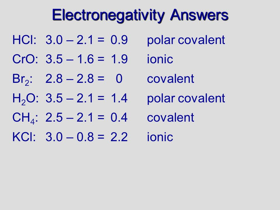 Electronegativity Answers