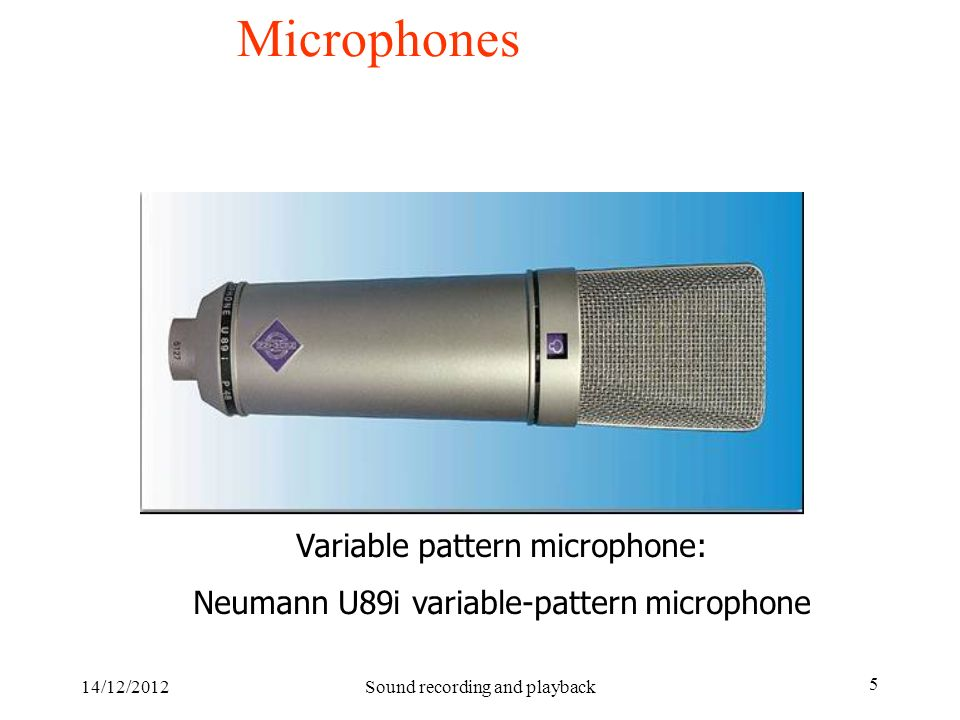 Microphones Variable pattern microphone: