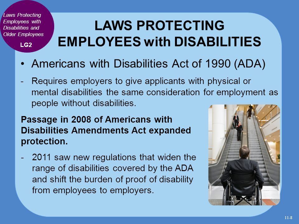 the protection of the disabled through the americans with disabilities act The individuals with disabilities education act section 504 and americans with disabilities act of 1990, title ii rights of idea-eligible ocr also enforces title ii of the americans with disabilities act of 1990, which extends protection against discrimination to the full range.