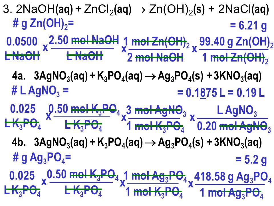 # g Zn(OH)2= = 6.21 g 0.0500 L NaOH 2.50 mol NaOH L NaOH x