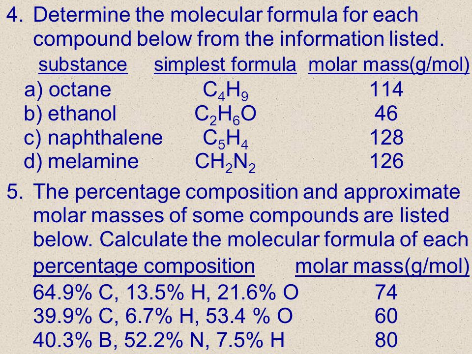 percentage composition molar mass(g/mol) 64.9% C, 13.5% H, 21.6% O 74
