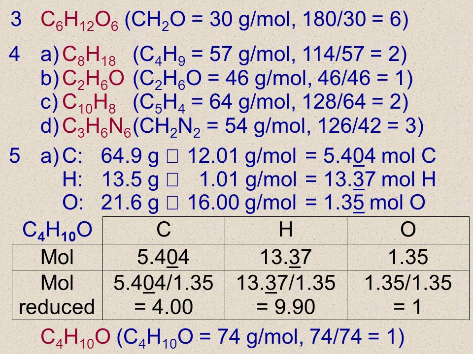 3/27/2017 3 C6H12O6 (CH2O = 30 g/mol, 180/30 = 6) 4 a) C8H18 (C4H9 = 57 g/mol, 114/57 = 2) b) C2H6O (C2H6O = 46 g/mol, 46/46 = 1)