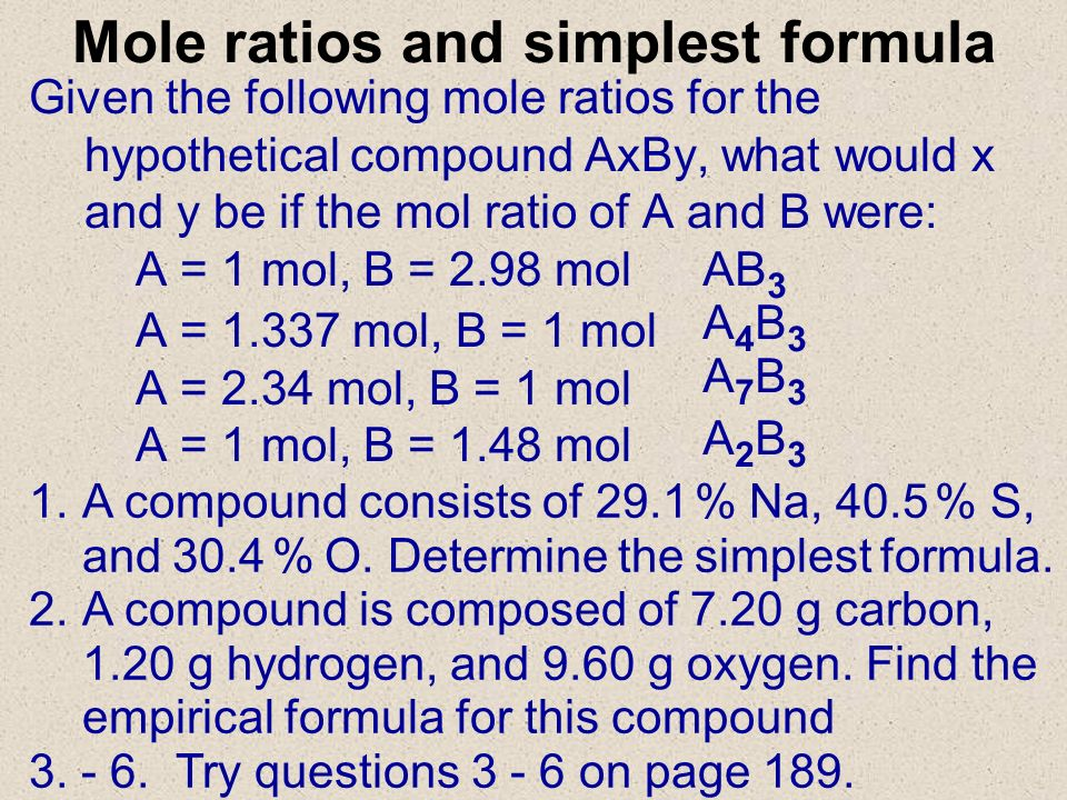 Mole ratios and simplest formula