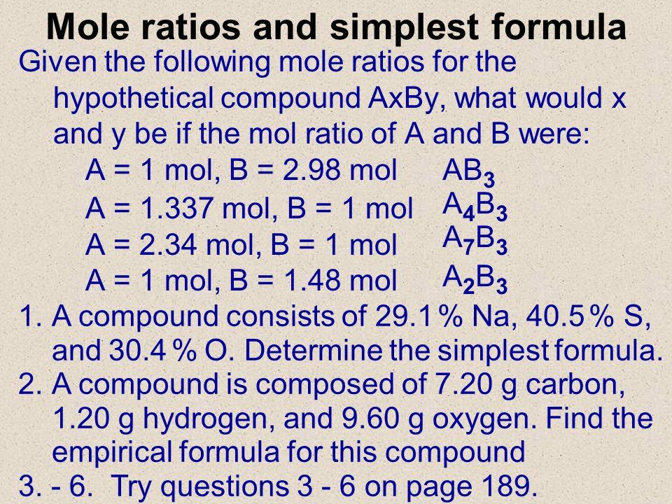 Mole ratios and simplest formula