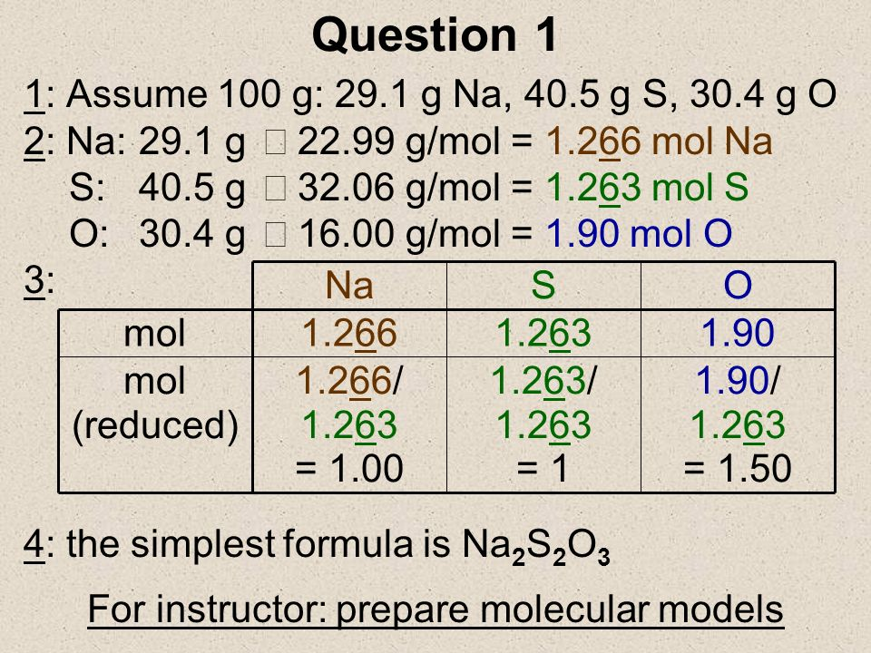 For instructor: prepare molecular models