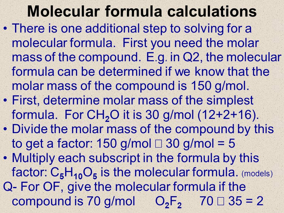 Molecular formula calculations