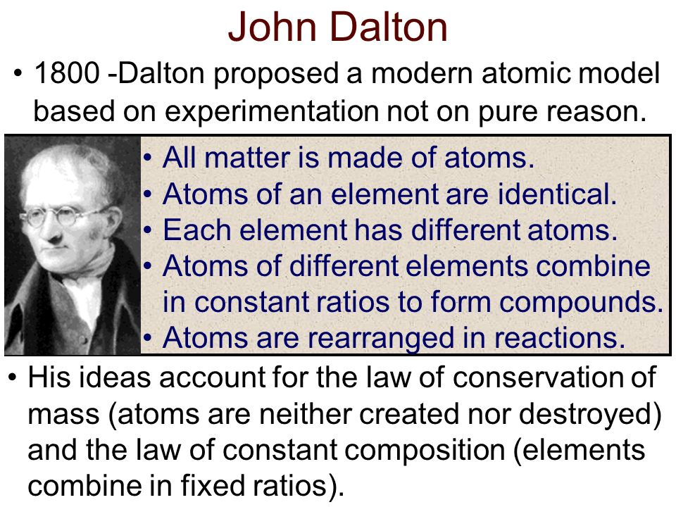 John Dalton 1800 -Dalton proposed a modern atomic model