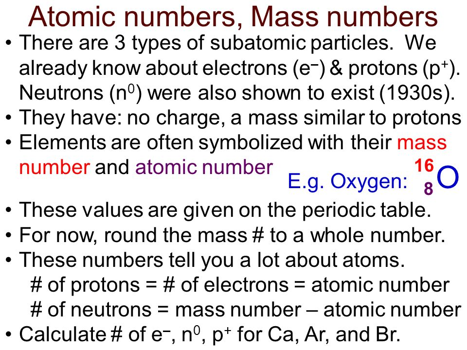 Atomic numbers, Mass numbers