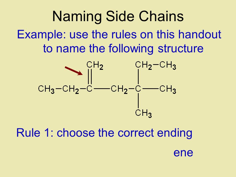 Example: use the rules on this handout to name the following structure