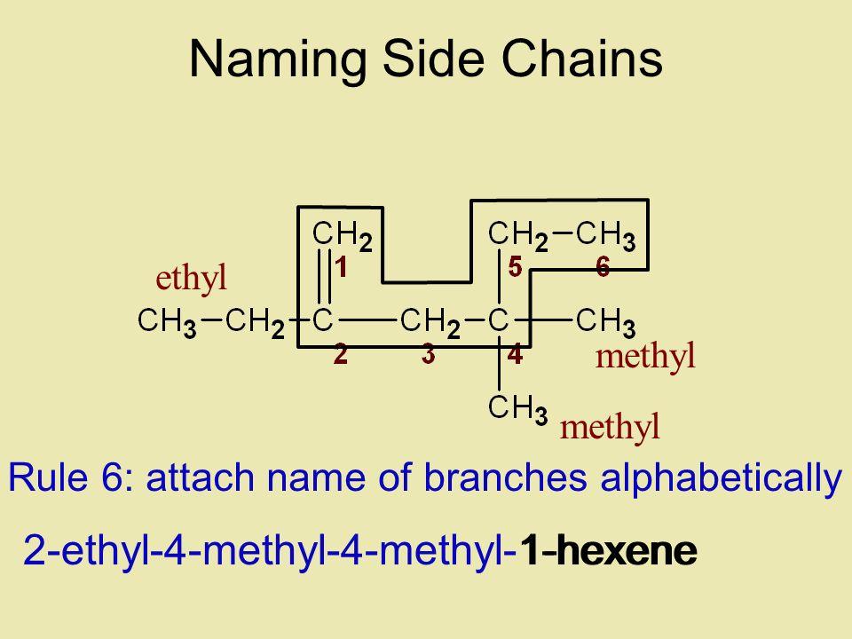 Naming Side Chains 2-ethyl-4-methyl-4-methyl-1-hexene 1-hexene