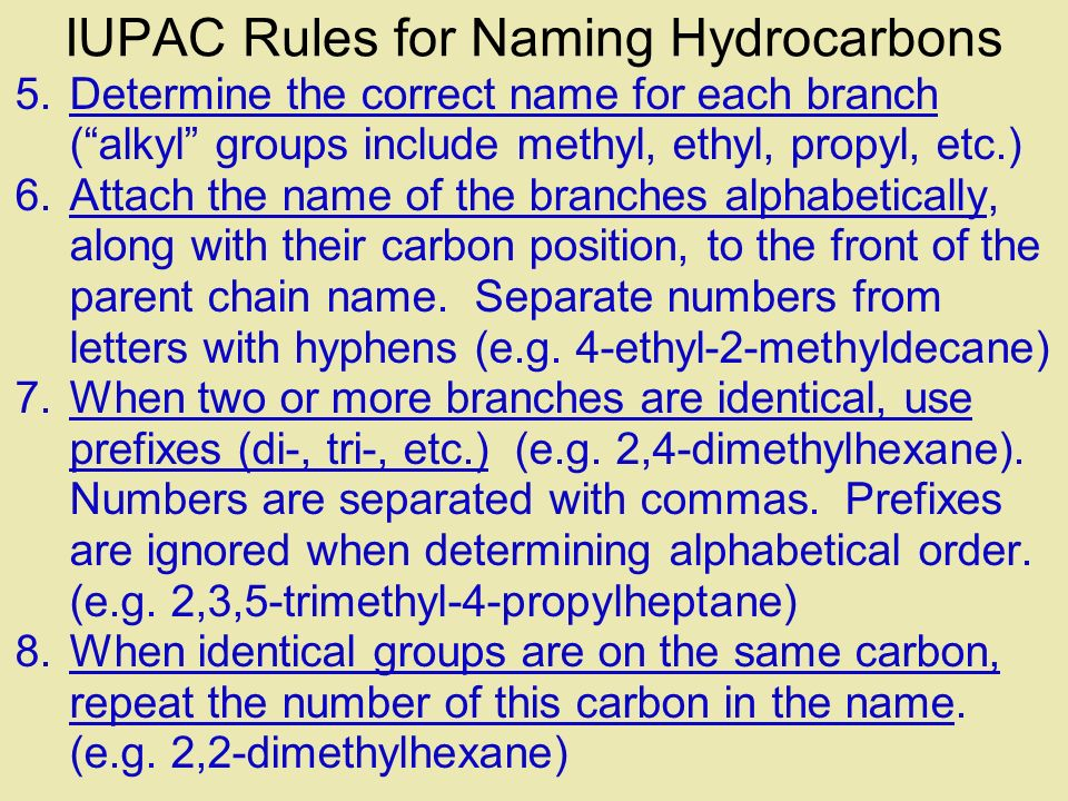 IUPAC Rules for Naming Hydrocarbons
