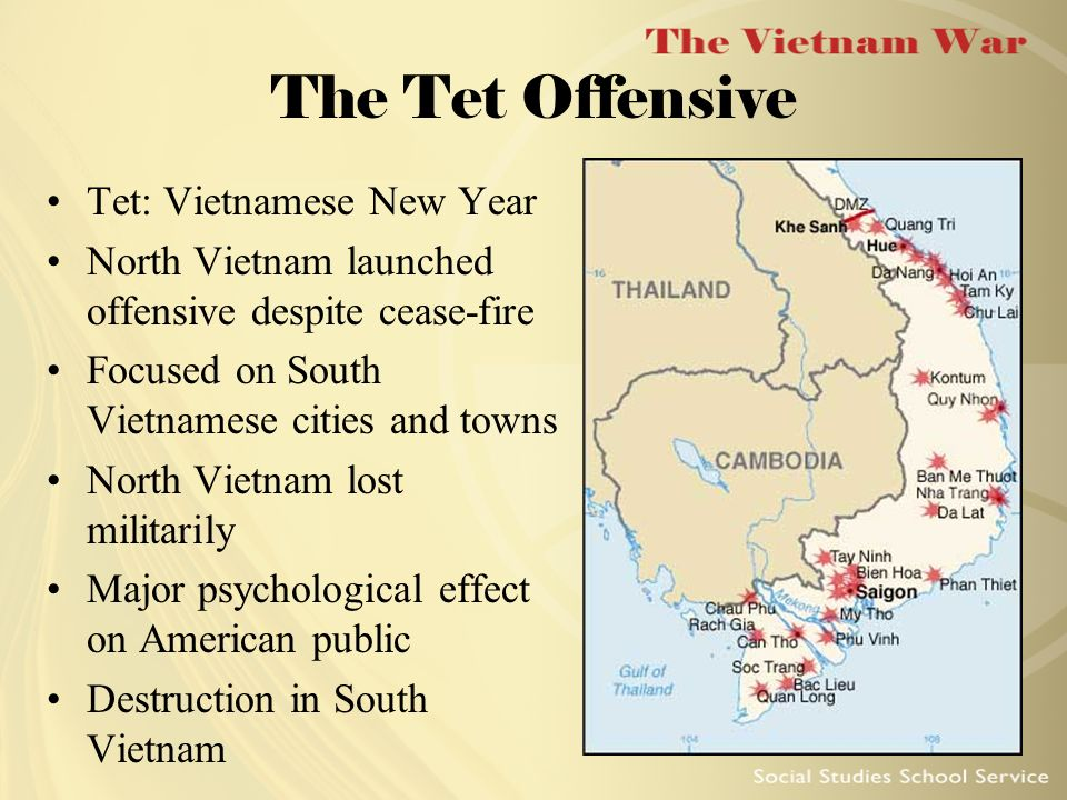 additional information about the 1968 tet offensive The tet offensive has become enshrined as the turning point of the american war in vietnam secondary school textbooks, whether written for students at the most introductory level or designed for ap students, argue that the tet offensive was the turning point of the war most american history .