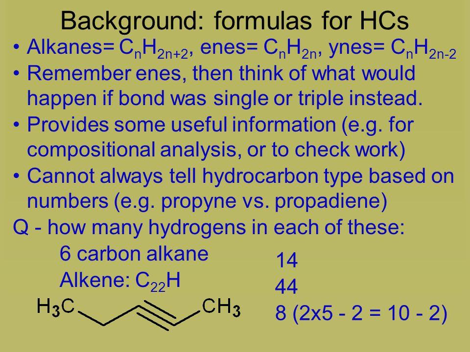 Background: formulas for HCs