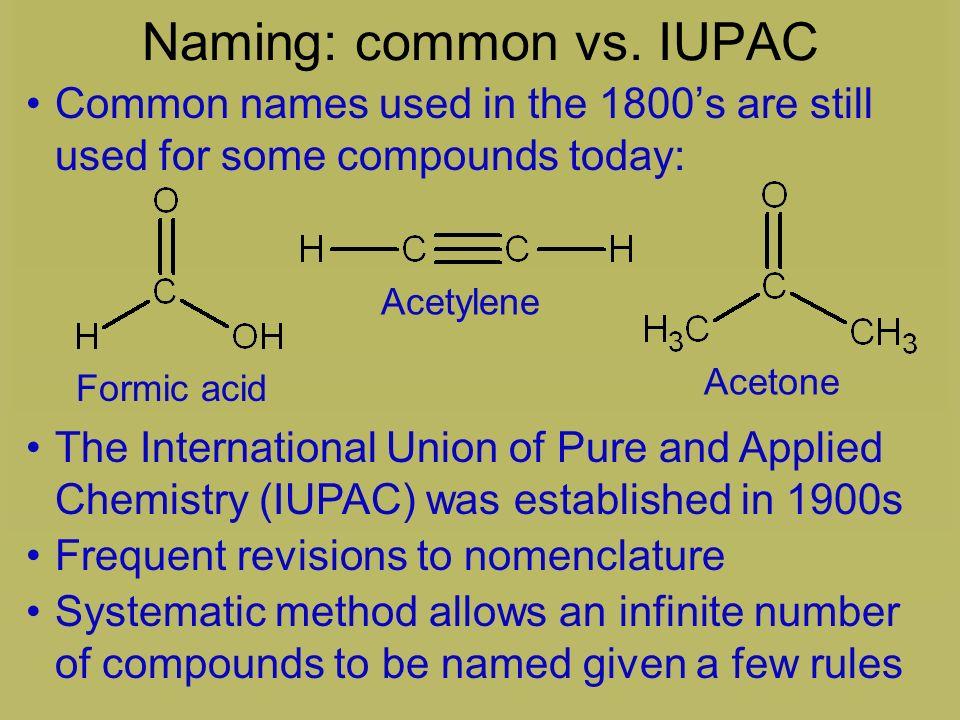 Naming: common vs. IUPAC