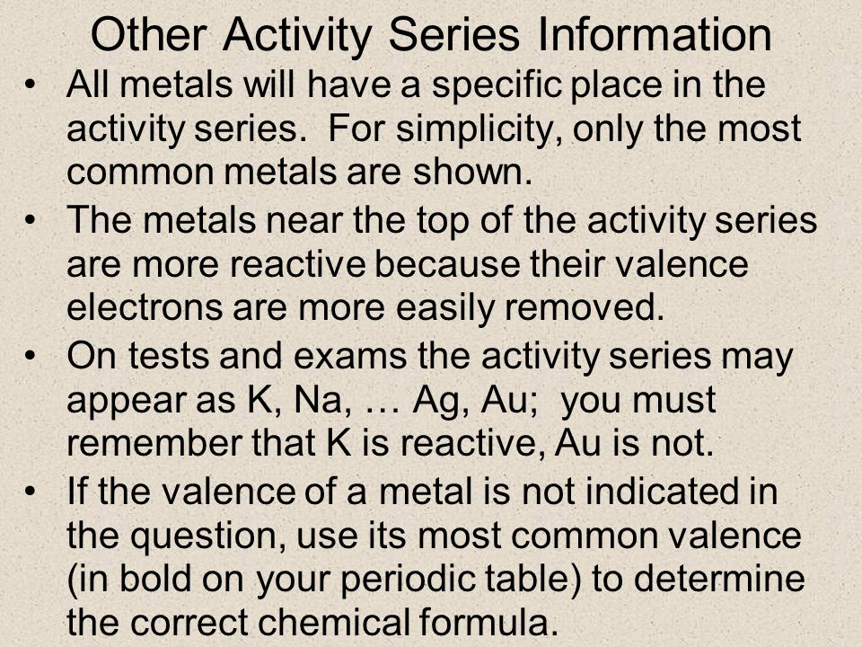 Other Activity Series Information