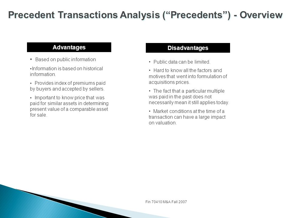 precedent transactions analysis World-class valuation and transaction models to complement the global best-selling guide to investment banking  precedent transactions analysis discounted cash.