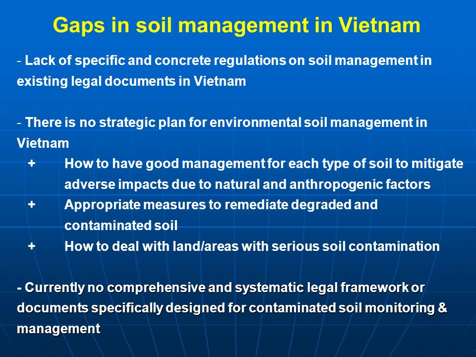 Assessment of vietnam s policy and legal framework on for Soil management