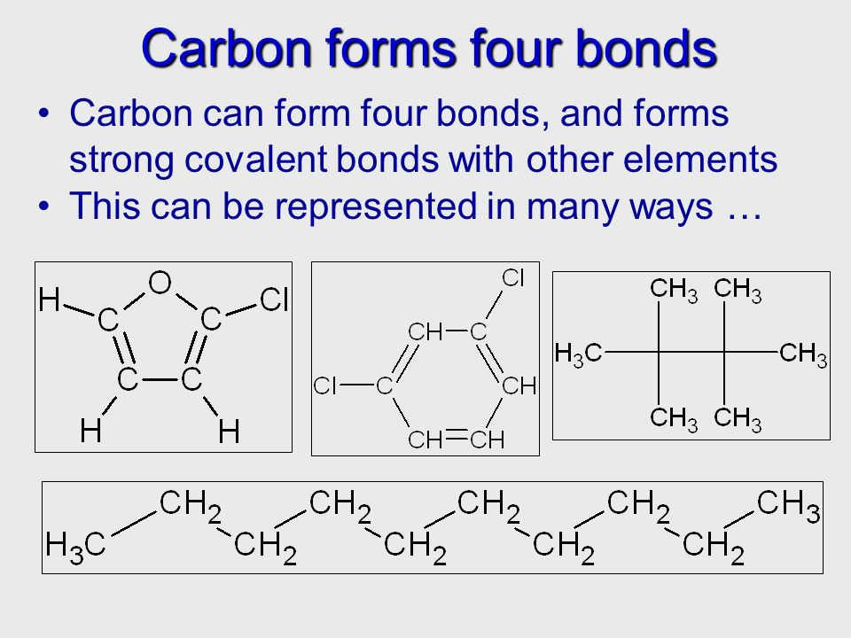 Carbon forms four bonds