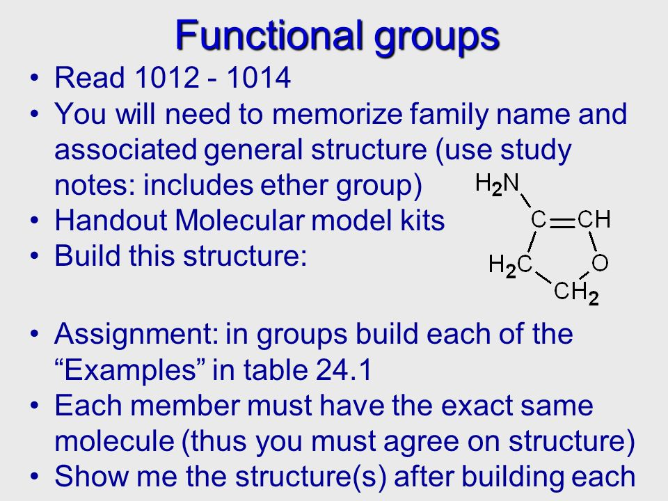 Functional groups Read 1012 - 1014