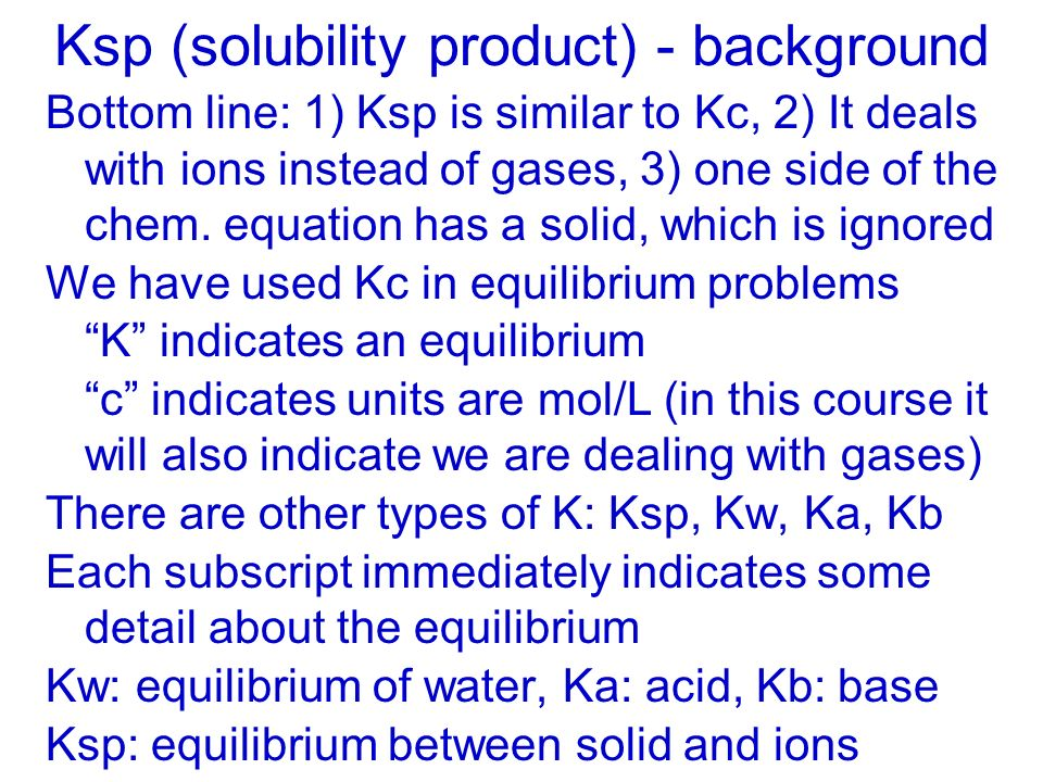 Ksp (solubility product) - background