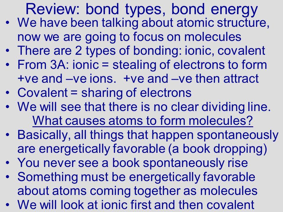 Review: bond types, bond energy